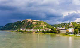 Vista da fortaleza Ehrenbreitstein em Koblenz Imagem de Stock Royalty Free