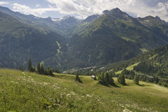 Vista da Gampen, nelle alpi austriache Immagini Stock