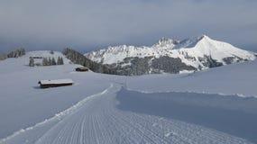 Vista da Hohe Wispile, Gstaad Supporto soleggiato Lauenenhorn Inverno Immagini Stock