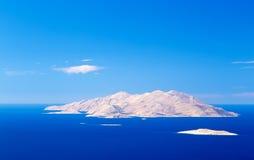 Vista da ilha de Halki do Rodes, dodecanes, Grécia fotografia de stock royalty free