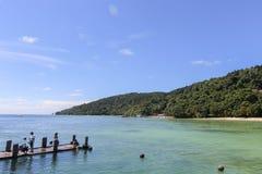 Vista da ilha de Manukan, Sabah, Malásia Foto de Stock