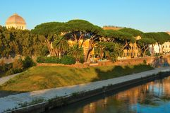 Vista da ilha de Tiberina, Roma fotografia de stock