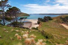 Vista da ilha nativa de Stewart Island, olhar do monumento de Wohlers Imagens de Stock Royalty Free