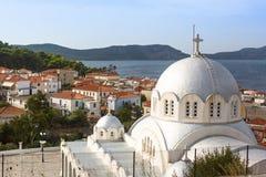 Vista da ilha Pylos tem uma longa história, em épocas clássicas, o local era desinibido imagens de stock