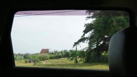 Vista da janela do carro em Bali filme