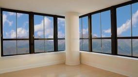 Vista da janela na paisagem da montanha e no céu azul com nuvens brancas video estoque