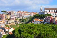 Vista da Lisbona Castlein l'estate Immagine Stock Libera da Diritti
