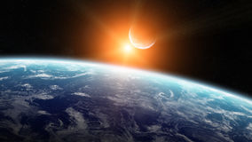 Vista da lua perto da terra do planeta no espaço Imagem de Stock