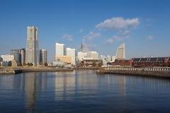 Vista da mais baixa cidade de Minato-Mirai em Yokohama, Japão. fotografia de stock royalty free