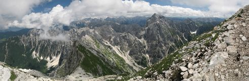 Vista da Mangrt a Jalovec Fotografia Stock