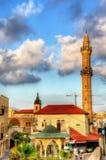 Vista da mesquita de Mahmoudiya no telefone velho Aviv-Jaffa da cidade Foto de Stock Royalty Free