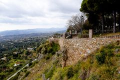 Vista da Mijas nelle montagne sopra Costa del Sol in Spagna Fotografia Stock