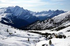 Vista da montagem Marmolada do Passo Sella Província de Trento, Tirol sul, Itália Fotografia de Stock