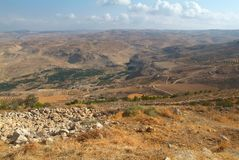 Vista da montanha de Nebo à terra do prometido imagem de stock royalty free