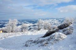 Vista da montanha durante a viagem do dia ensolarado do inverno, Ucrânia de Gemba Imagens de Stock