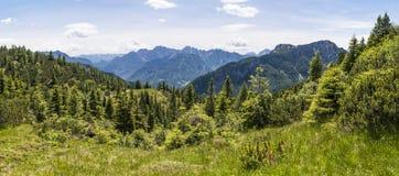 Vista da Nassfeld nelle alpi di Carnic a Julian Alps Fotografia Stock Libera da Diritti