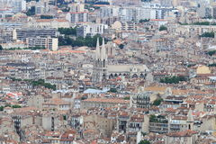Vista da Notre Dame de la Garde alla città di Marsiglia del francese Immagini Stock Libere da Diritti