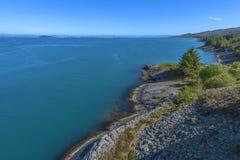 Vista da Ognasundbrua (ponte) in Rogaland, Norvegia Immagine Stock