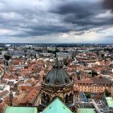 A vista da parte superior de Notre-Dame de Strasbourg Imagens de Stock Royalty Free