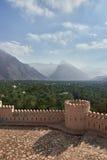 Vista da parte superior de um forte das montanhas e das palmas de data Fotos de Stock Royalty Free