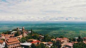 Vista da parte superior de um vale pitoresco de Alazani Sighnaghi, Geórgia Vista panorâmica na paisagem da cidade video estoque