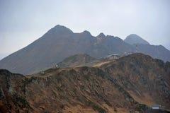 A vista da parte superior do pico cor-de-rosa da montanha fotos de stock royalty free