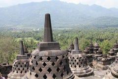 Vista da parte superior do templo de Borobudur, Indonésia Fotos de Stock