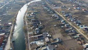 Vista da parte superior da vila Ruas sem as casas do asfalto e do único-andar A vila de Kuban Fotografia de Stock Royalty Free