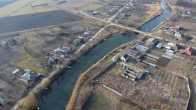 Vista da parte superior da vila Ruas sem as casas do asfalto e do único-andar A vila de Kuban Imagem de Stock Royalty Free