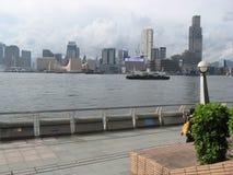 Vista da passeggiata centrale, isola principale, Hong Kong fotografie stock