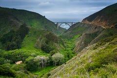 Vista da ponte da angra de Bixby, em Big Sur fotografia de stock royalty free