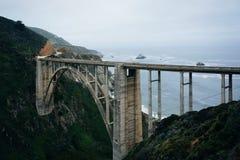 Vista da ponte da angra de Bixby, em Big Sur, Califórnia foto de stock royalty free