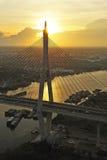 Vista da ponte de Bhumibol fotografia de stock royalty free