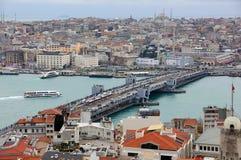 Vista da ponte de Galata da torre de Galata fotografia de stock royalty free