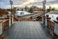 Vista da ponte de Pushkinsky Imagens de Stock