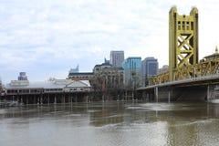 Vista da ponte da torre, Sacramento Fotografia de Stock