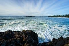 Vista da praia de Chesterman em Tofino do ponto de Pettinger fotos de stock