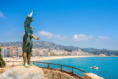 Vista da praia de Lloret de Mar Costela Brava, Spain Fotos de Stock