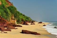 Vista da praia de Varkala Fotografia de Stock Royalty Free