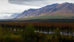 Vista da região selvagem do Alasca em cores da queda Imagens de Stock