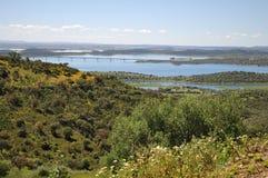 Vista da represa de Alqueva Foto de Stock Royalty Free
