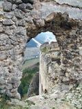 Vista da rovina del castello di Lietava Fotografie Stock Libere da Diritti