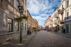 Vista da rua de Vilniaus, rua principal na cidade velha imagens de stock