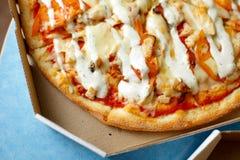 Vista da sopra Consegna della pizza Menu della pizza Immagini Stock