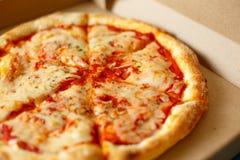 Vista da sopra Consegna della pizza Menu della pizza Fotografia Stock