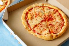 Vista da sopra Consegna della pizza Menu della pizza Fotografia Stock Libera da Diritti