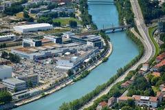 Vista da sopra, dalle Bastille forti a Grenoble, la Francia Fotografia Stock