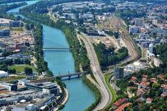 Vista da sopra, dalle Bastille forti a Grenoble, la Francia Fotografia Stock Libera da Diritti