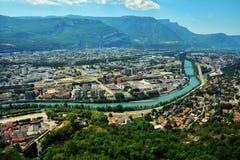 Vista da sopra, dalle Bastille forti a Grenoble, la Francia Immagini Stock Libere da Diritti