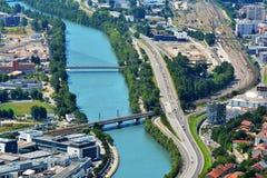Vista da sopra, dalle Bastille forti a Grenoble, la Francia Immagini Stock